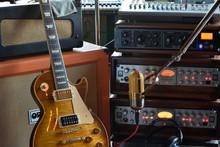 """The Recording Musician"" Recording Studio Stock Photo"