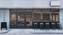Front View Cafe Shop Restaurant Design Modern Loft Black Metal Concrete Wall Front Seat Bar - 3D Rendering