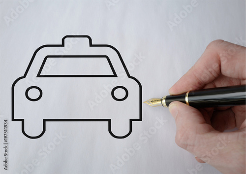 Photo taxi dessiné au stylo plume