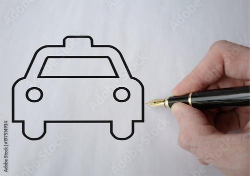 taxi dessiné au stylo plume Wallpaper Mural