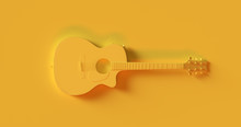 Yellow Electric Acoustic Guitar 3d Illustration