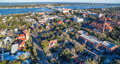 Photo Aerial view of St Augustine skyline and bridge, Florida