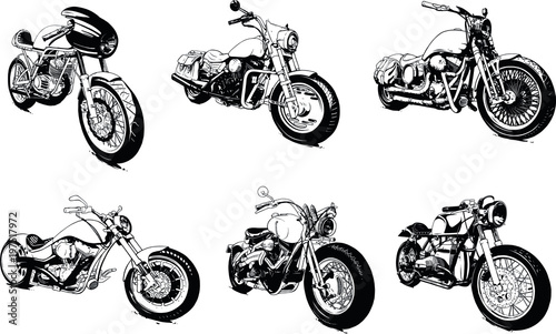 Canvas Vintage Custom Motorcicle Graphic Poster Illustration.
