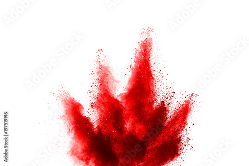 Fotografie, Obraz  Red powder explosion on white background