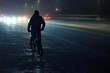 canvas print picture - cyclist at night