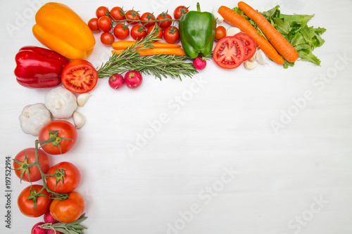 Printed kitchen splashbacks Fresh vegetables Variety of vegetables, on the white wooden table, top view, copy space, selective focus