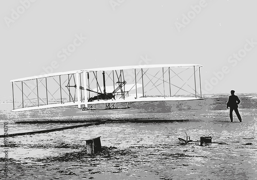 Obraz Frères Wright - avion - aviation - invention - inventeur - historique - personnage célèbre - fototapety do salonu