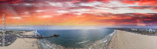 Aerial panoramic view of Santa Monica coastline and pier at dusk, CA Canvas Print