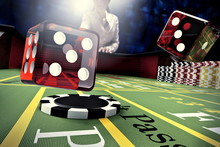 Dice Throw On Craps Table In O...