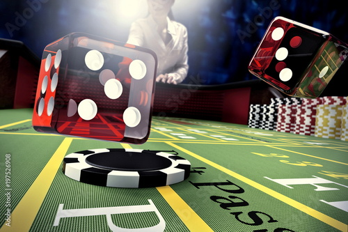 dice throw on craps table in online casino фототапет
