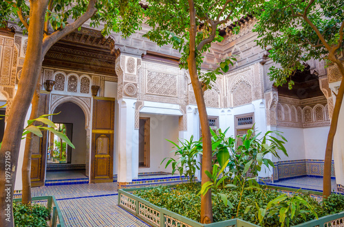 Photo Stands Morocco Garden of Marrakesh Bahia Palace in Marrakesh, Morocco.