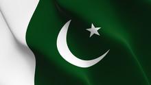 Pakistan Flag Waving Loop. Pakistani Flag Blowing On Wind.
