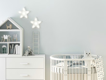 Mockup Wall In Child Room 3d R...