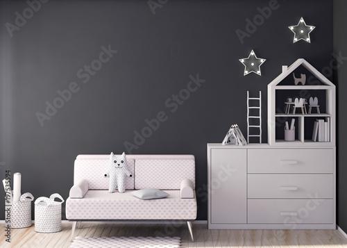 Fotografía  Mockup wall in child room 3d rendering
