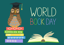 World Book Day. Smart Owl On S...
