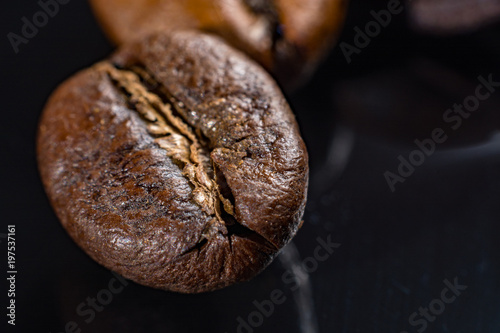 Macro collection, roasted black coffee beans close up