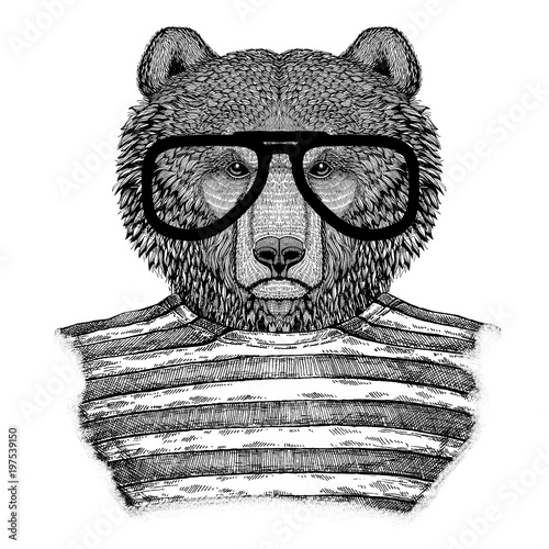 Brown bear Russian bear Hipster style Hand drawn illustration for tattoo, emblem Canvas Print