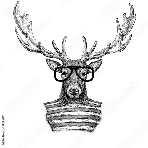 hipsterski-jelen-w-okularach-i-z-rogami-rysunek-czarno-bialy