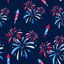 Fireworks Festival. Watercolor...