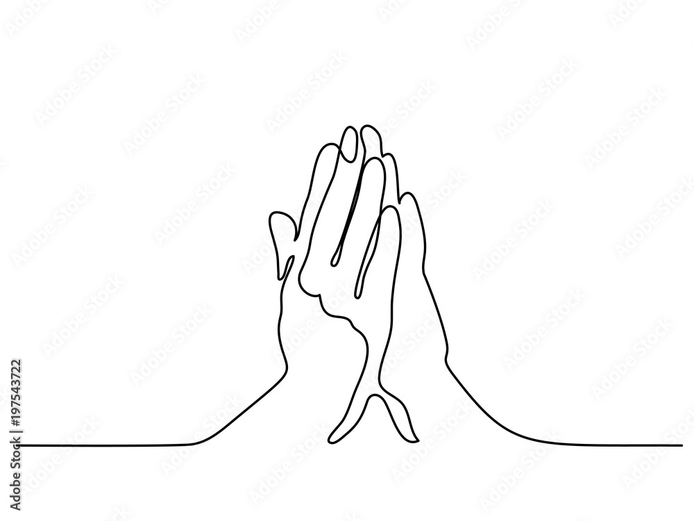 Fototapety, obrazy: Continuous line drawing. Hands palms together praying. Vector illustration