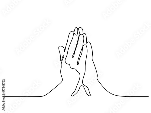 Continuous line drawing  Hands palms together praying