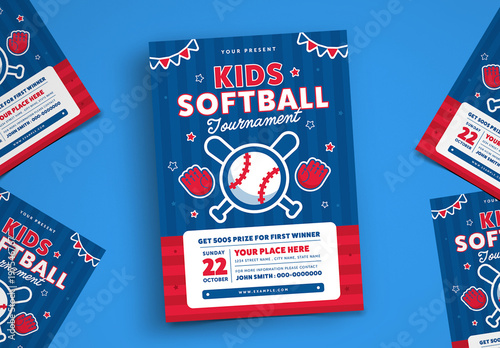kids softball tournament flyer layout buy this stock template and