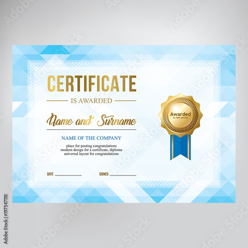 gift certificate design honorary diploma creative geometric blue