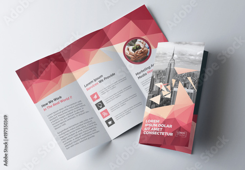 Tri Fold Brochure Layout With Geometric Accents Buy This Stock