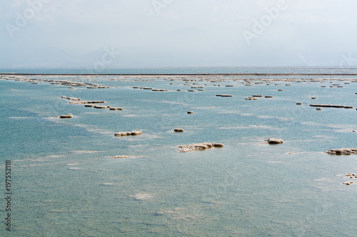 Landscape with lowest salty lake in world below sea level