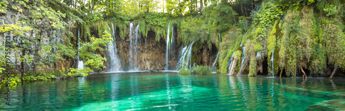 Photo Stands Waterfalls Plitvice Lakes, Croatia Waterfall. Amazing Place.