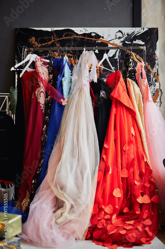 Many Ladies Evening Gown Long Dresses On Hanger In The Dress Rent Shop For The Wedding Day Or Photo Session Dresses Rental Concept Selective Focus Ball Gown Rental Concept Buy This