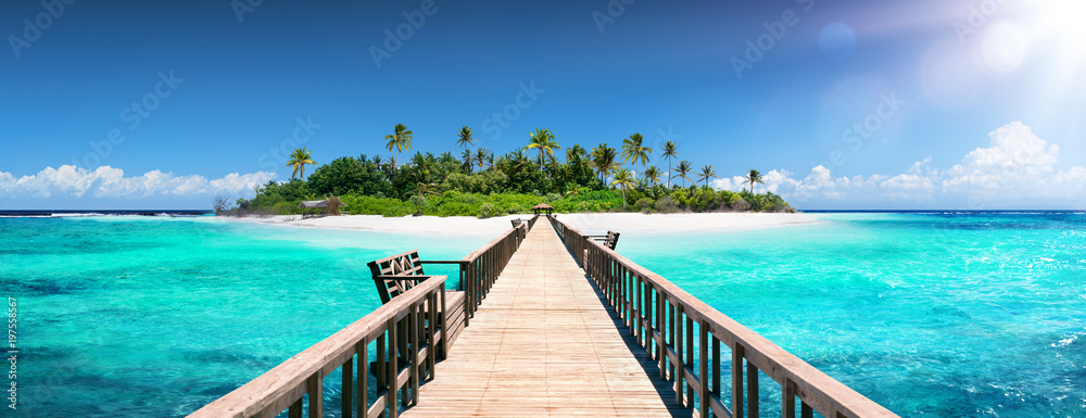 Fototapeta Tropical Destination - Maldives - Pier For Paradise Island