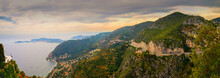 Panoramic View Over The Coastal Line Of Cote D'Azure And The Mediterranean Sea