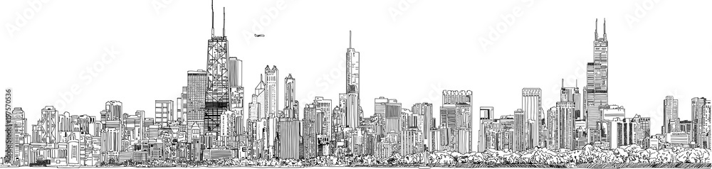Fototapeta Hand drawn illustration. Panorama of the Chicago skyline. Detailed ink look and feel. Black and white.