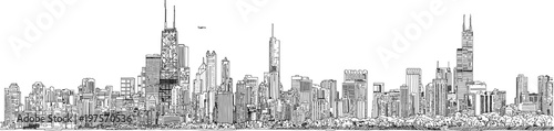 Hand drawn illustration. Panorama of the Chicago skyline. Detailed ink look and feel. Black and white.