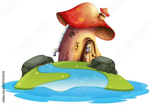 Spoed Foto op Canvas Magische wereld Mushroom house on island
