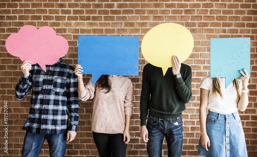 Fotografie, Obraz Friends holding up copyspace placard