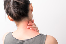 Closeup Women Neck And Shoulder Pain/injury With Red Highlights On Pain Area With White Backgrounds, Healthcare And Medical Concept