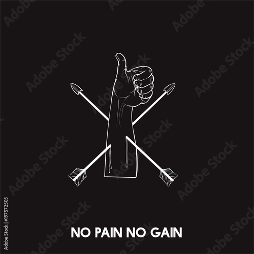 Fotografie, Obraz  No pain no gain idiom vector