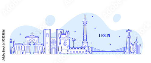 Lisbon skyline, Portugal city buildings vector