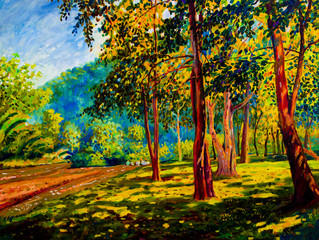 Panel Szklany Drzewa Oil color painting landscape on canvas colorful of trees gaden.