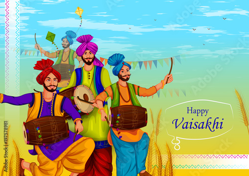 Fényképezés  Happy Vaisakhi Punjabi religious holiday background for New Year festival of Pun