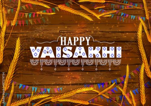 Valokuvatapetti Happy Vaisakhi Punjabi religious holiday background for New Year festival of Pun