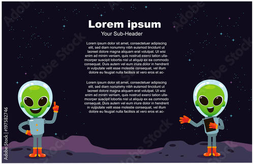 Photo  Vector illustration of aliens character with galaxy in the background and space