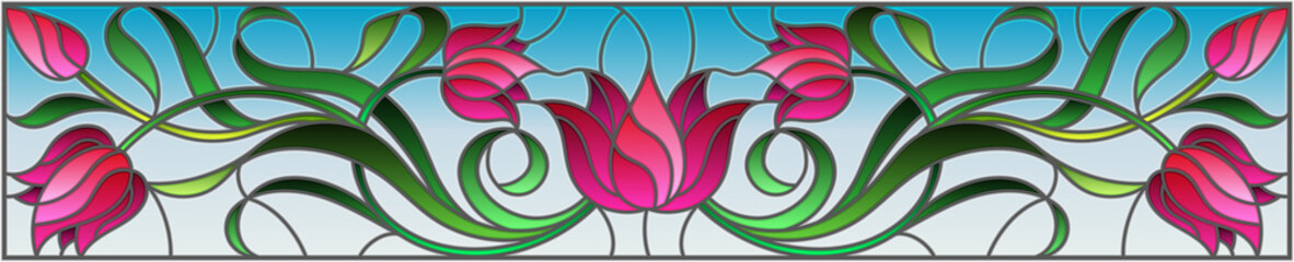 Naklejka Illustration in stained glass style with flowers, leaves and buds of pink tulips on a blue background, symmetrical image, horizontal orientation