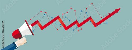Hand Bullhorn Growth Chart Header Fototapet