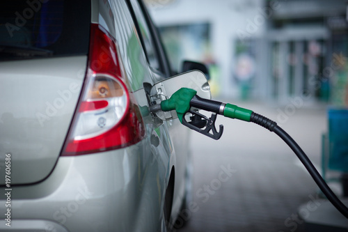 Photo  Car refueling on a petrol station.