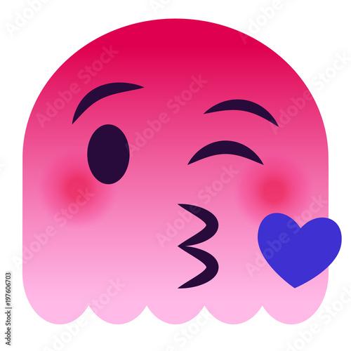 Fototapeta Kussmund mit Herz Emoticon - pinker Geist