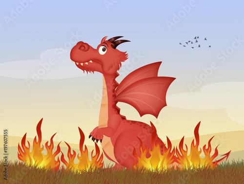 illustration of funny dragon