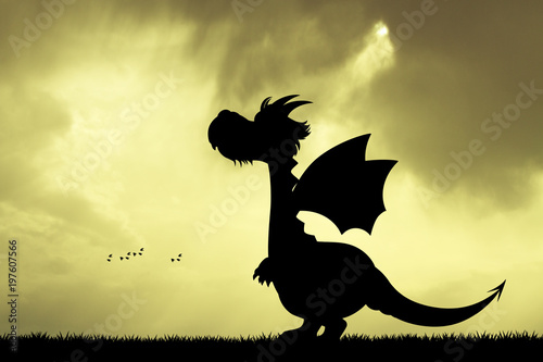 dragon silhouette at sunset